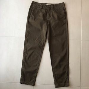 Vince Olive Green Crop Cotton Pants
